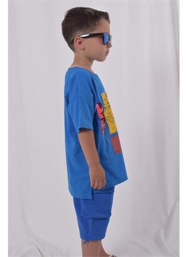 iandb Mavi Baskılı Payetli Unisex T-shirt Pullu Sylester Mavi